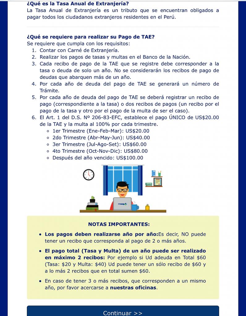 ペルー、外国人、ビザ、税金、TAM