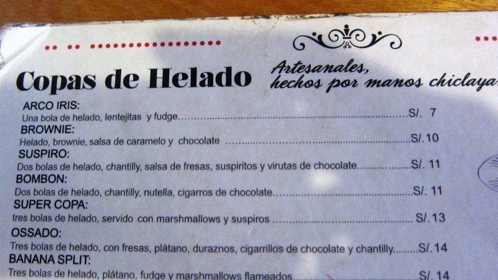 ペルー、チクラーヨ、おいしい、アイスクリーム