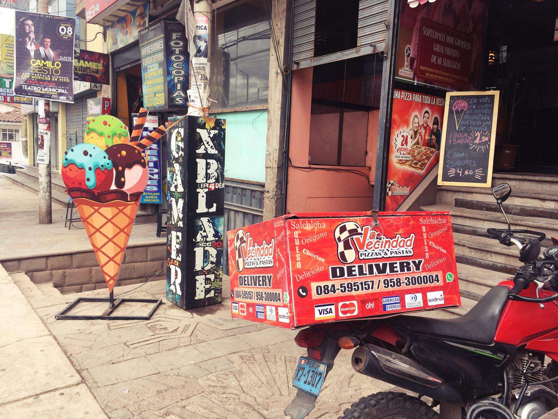 ペルー, クスコ, ピザ, レストラン, アイスクリーム
